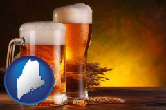 maine map icon and beer steins and hops