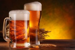 beer steins and hops